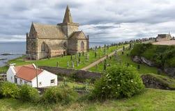 Старая церковь четырнадцатого века на St Monans, файфе, Шотландии Стоковое Фото