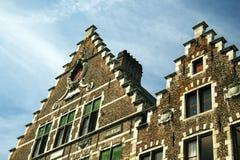 Старая часть Гента Бельгии кирпичного здания Стоковое Изображение RF