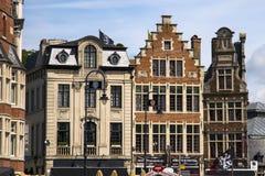 Старая часть Гента Бельгии кирпичного здания Стоковая Фотография RF