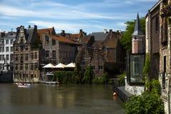 Старая часть Гента Бельгии кирпичного здания Стоковая Фотография