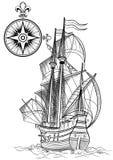 Старая шлюпка sailing Стоковые Изображения