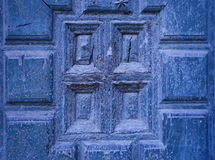 Старая деревянная голубая деталь двери Стоковые Фото