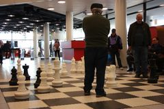 Старики играют публично с гигантскими шахматами стоковые фотографии rf