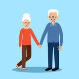 Старики и женщины пар вектор Стоковые Изображения