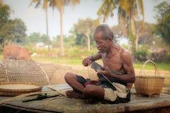 Старик бамбуковая курица Стоковое фото RF