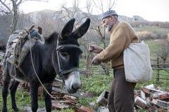 Старик и осел Стоковые Фото