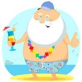 Старик на каникулах Иллюстрация вектора