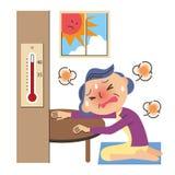 Старик теплового удара иллюстрация штока