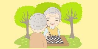 Старик шаржа играет шахмат иллюстрация штока