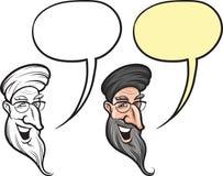 Старик шаржа усмехаясь от Ближний Востока смотрит на иллюстрация вектора