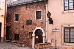 Старинная улица в польском городке Стоковая Фотография