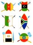 Старинное оружие, экраны с африканскими флагами в плоском стиле вектора иллюстрация штока