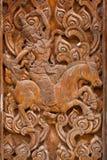 стародедовская древесина ramayana carvings Стоковая Фотография RF