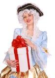 стародедовская женщина подарка платья коробки Стоковая Фотография
