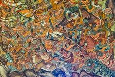 Стародедовская тайская настенная роспись стоковые изображения rf