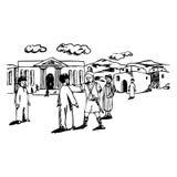 Стародедовские люди в стародедовском пейзаже иллюстрация вектора
