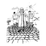 Стародедовские люди на дороге иллюстрация штока