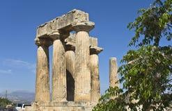 стародедовский висок apollo Коринфа Греции Стоковое фото RF