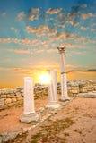 стародедовский заход солнца грека колонок Стоковое Изображение RF