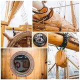 Стародедовский коллаж сосуда sailing Стоковое Изображение