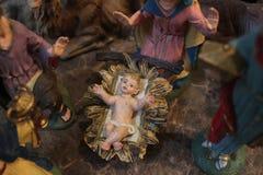 стародедовский комплект места рождества figurines Стоковая Фотография RF