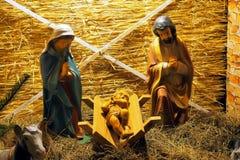стародедовский комплект места рождества figurines стоковое изображение