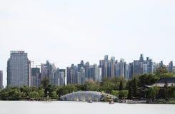 Стародедовский мост типа и самомоднейшее здание типа Стоковое Изображение RF