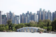 Стародедовский мост типа и самомоднейшее здание типа Стоковые Фото
