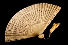 стародедовский черный вентилятор изолировал раскрыно Стоковая Фотография