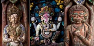 стародедовское bhaktapur высекая установленное деревянное Стоковые Фотографии RF