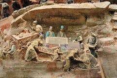 Старое буддийское резное изображение утеса горного склона стоковая фотография rf