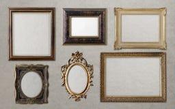 Старое винтажное золотое собрание рамок стоковая фотография rf