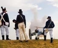 Старое включение карамболя, солдаты артиллерии стоковые фото