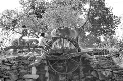 Старое вод-колесо в Гуджарате, Индии Стоковая Фотография RF