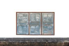 3 старое деревянное Windows на белой стене Стоковая Фотография RF