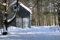 Старое здание в снежке Стоковое Изображение