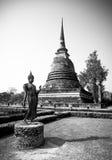Старое изображение Будды, черно-белое Стоковая Фотография