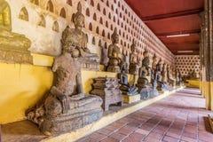 Старое искусство Будды в wat Sisaket, Вьентьян, Лаосе Стоковое фото RF