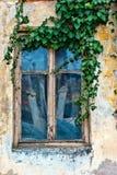 Старое и деревенское окно на старом фасаде Стоковое фото RF
