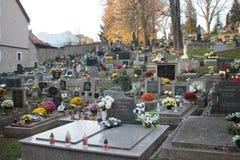 Старое кладбище в старом centrum города Banska Bystrica стоковые изображения rf