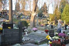 Старое кладбище в Banska Bystrica, Словакии стоковые изображения