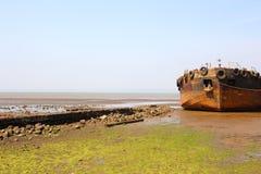 Старое кораблекрушение на пляже стоковые фотографии rf