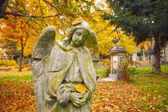 Старое кладбище в осени Стоковые Фото