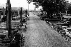 Старое кладбище в B&W Стоковое Изображение