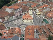 Старое лето Brasov центра города стоковое фото rf
