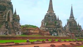Старое место Wat Phra Si Sanphet, Ayutthaya, Таиланда видеоматериал