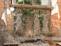 Старое окно с терракотой крыло крышу черепицей Архитектурноакустические детали от Goa, Индии стоковое фото rf