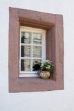 Старое окно с flowerpot Стоковые Фотографии RF