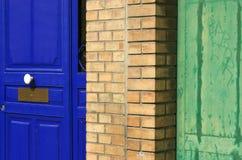 Старое Париж покрасило двери Стоковая Фотография RF