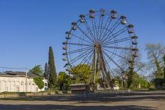 Старое ржавое мертвое колесо Ferris Стоковое фото RF